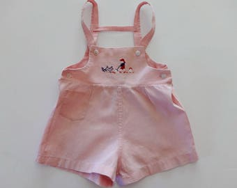 1930's-40's Baby Embroidered Pink Sunsuit Shorts Romper