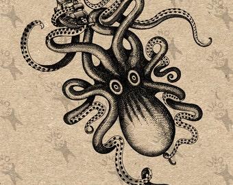 Vintage Octopus Giant Kraken Instant Download clipart digital printable graphic for transfers, scrapbooking, t-shirt , bag, etc HQ 300dpi