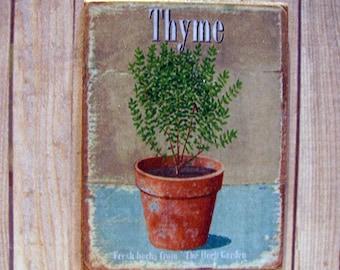 Thyme Pot Miniature Wooden Plaque 1:12 scale