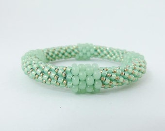Bead Crochet Rope Bangle Bracelet, Pistachio Green or Sea Green- Item 1318