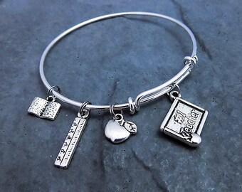 Teacher Gifts - Charm Bracelet - Teacher Bracelet - Gift For Teacher - Teacher Jewelry - Teacher Appreciation - Thank You Gift - Expandable