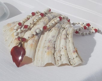 White magnesite and carnelian 2-strand necklace with red agate leaf focal