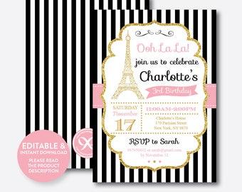 Instant Download, Editable Paris Birthday Invitation, Paris Invitation, Pink and Gold, Oh La La Invitation, Eiffel Tower Invitation (GKB.07)