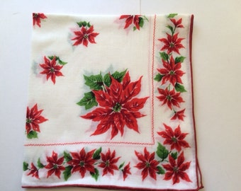 Christmas Poinsettia Flower Vintage Hankie, Vintage Handkerchief, Poinsettia Hanky