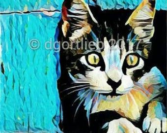 Framed 8 x 10 cat art print, cat wall art, pet art, cat lover gift, cat art, cat print, art for kids room,  cat print framed
