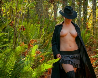 Outdoor nude in nature forest in the Fall fashion nude art fine art color photo print wall art - Il Calore dell'Autunno 01