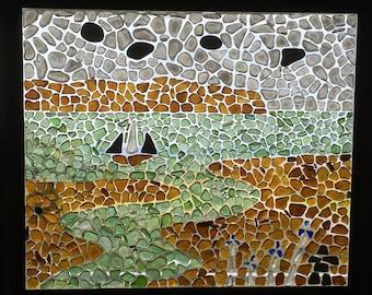 Sea Glass Mosaic Art - Cape Blomidon