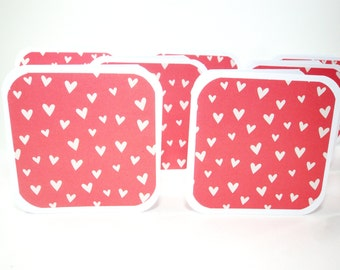 Heart Cards, Mini Cards, Mini Valentine Cards, Mini Heart Cards, White Cards in Pink, Heart Tags, Square Tags, Square Cards 3x3, Heart Mini