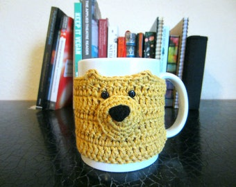 Yellow Bear Mug Cosy, Cup Cosy, Gift for Coffee Lover, Crochet Gift, Gift for Her, Coffee Cup, Gift for Women, Cup Sleeve, Cute Gift For Her