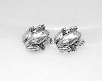 8pcs--Frog, Brass Stamping, Antique Silver, 12.5x11mm (B16-14)