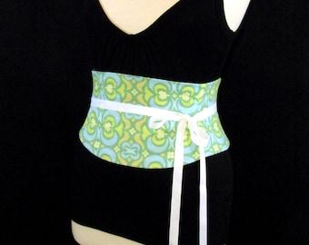 Green Corset Belt / Amy Butler Fabric / Waist Cincher / Wedding Sash / Pastel Corset / Steel Boning / Spring Corset / Spring Wedding