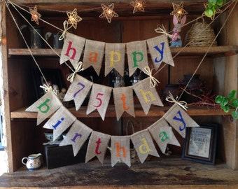 Burlap Happy Birthday Colorful Banner