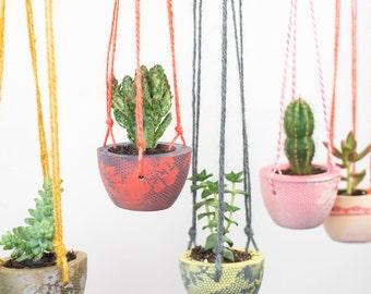 Printed Hanging Planter – Plant Pot – Hanging planter – Indoor Planter – Concrete Planter – Botanical Gift – Gardening Gift - Concrete Pot