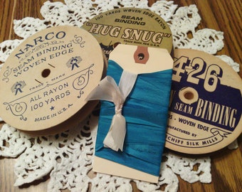 Vintage Dark Turquoise Woven Edge Rayon Seam Binding