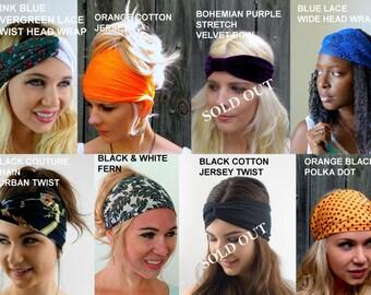 Yoga Headband, Choose ANY THREE, Wide Headband Wrap, Running Workout HeadBand, Cotton & Satin Headband, Turban Head Wrap