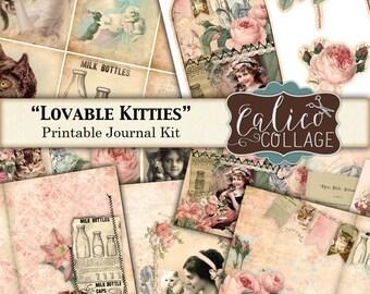 Bedruckbar, Journal-Kit, liebenswerte Katzen, Katze Journal Kit, Kätzchen Printables, bedruckbare Eintagsfliegen, Junk Journal Seiten, zerschlagen Buch, Digital