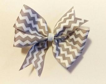 Hair Bow - Gray Chevron Print Pinwheel Hairbow