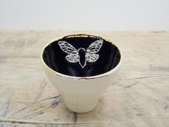 Cicada Black, White & Gold Porcelain 5oz. Small Tea Cup, Tea Bowl, Saki Cup