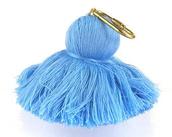 Cotton Tassel Key Chain Pouf - Sky Blue