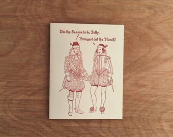 Holiday Hooch, Funny Shakespeare Holiday Christmas Greeting Card. Single card or boxed set of 6.