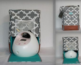 Half size Alana Spectra Breast Pump bag in PP Fulton Gray with Rust Vinyl all sides