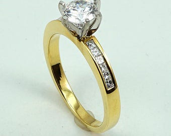 Engagement, Anniversary, Wedding Ring 18K YG with 12-Princess Diamond Side Stones at 0.17 Cts.