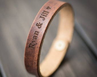 Customized Bracelet, Personalized Bracelet, Leather Bracelet, Custom Cuff Bracelet engraved, Gift for him- English Tan