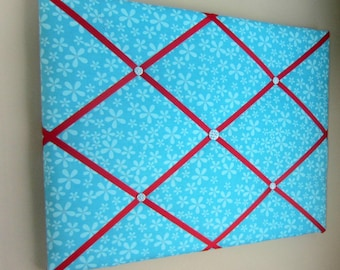 "16""x20"" French Memory Board, Bow Holder, Bow Board, Ribbon Board, Vision Board, Photograph Organizer, Turquoise & Red Daisy Memory Board"