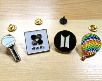 방탄소년단 BTS Bangtan Gold Soft Enamel Pin Badge: Wings | Army B | Young Forever | BTS Logo