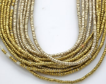 Ethiopian Brass Beads, Rondelle 1.5-2.0mm 24 inch long strands.