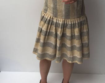 SALE * Vintage Cream grey wool dress dropped waist pleat skirt collar buttons at back
