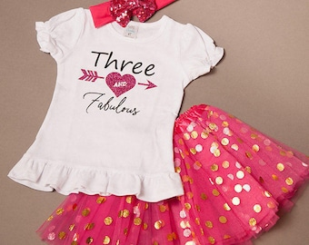 SALE - 3rd birthday girl outfit, third birthday shirt - 3rd birthday outfit