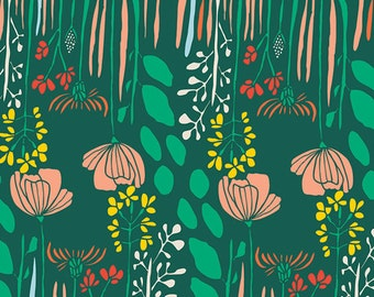 Rich Green Meadow of Flowers Fabric - Meadow by Leah Duncan for Art Gallery Fabrics - Summer Grove by Night - Fabric By the Half Yard