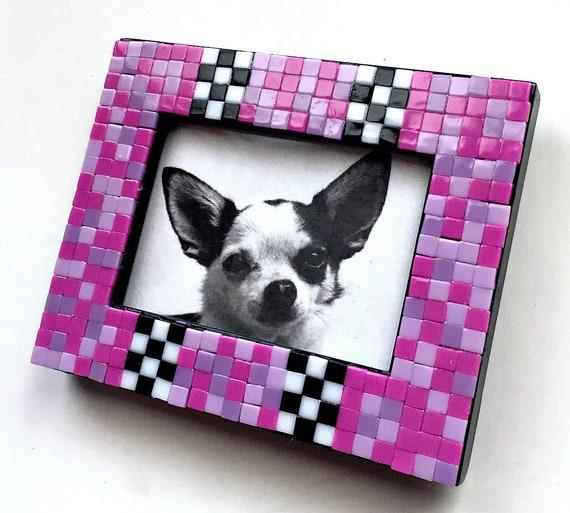 Pink Black Mosaic Tile Frame, Small Photo Frame, Pink Check Mosaic Frame, Mini Tile Mosaic Frame, Hot Pink Black White Mosaic Frame