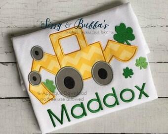 St Patricks Day Shamrock Truck - Applique Embroidery Design - 4X4, 5X7 & 6X10