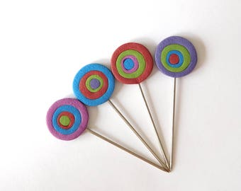 Decorative T pins, Blocking Pins, quilting pins, polymer clay pin toppers