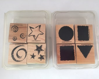 2 Sets of Rubber Crafting Stamps, 8 Stamps Total, Little Shapes, Stars and Swirls, 2000, 2001