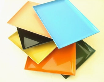 6 vintage plastic snack trays or sushi plates, orange peach turquoise black yellow olive, 1970s tip trays, plastic servers