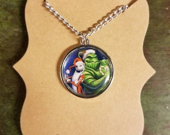 Custom Nightmare Before Christmas inspired Jack and Oogie Boogie Holiday Necklace