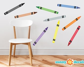 Crayon Fabric Wall Decals - Set of 9 Coloring Crayons In 9 Different Colors - Non-Toxic, Reusable, Repositionable - Sunny Decals