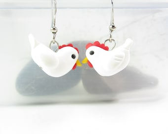 Chicken earrings, chicken jewelry, white chicken earrings, hen earrings, animal earrings, cute earrings, polymer clay, chicken gifts womens