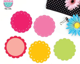 120 Rainbow Scallop Digital Clipart. Scalloped circles. Personal and small commercial use.