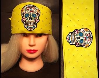 Yellow Sugar Skull Bling Bandana