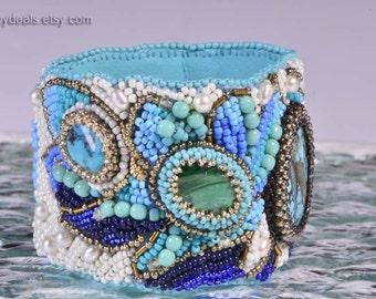 Seed Bead Embroidery Bracelet For Women Gemstone Bracelet