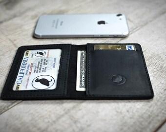 leather black matte wallet, slim wallet, front pocket wallet, minimalist wallet, engraved wallet, bifold wallet, slim card wallet, wallet