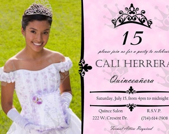 Birthday Party Quinceanera Fifteen Years Old Invitations, DIY