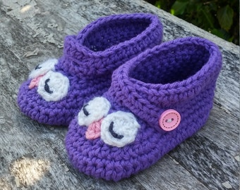 Owl booties - owl baby shoes - owl shoes - owl slippers - owl baby booties - baby gift - baby shoes - crib shoes  - owl crib shoes - owls