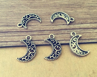 80pcs Antique Silver moon Pendant Charms 6mmx18mm