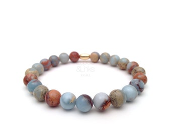 Jasper impression beaded men's bracelet, quality accessories for the modern gentleman.