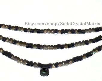 Labradorite and Hematite Necklace & Earrings Three Strands